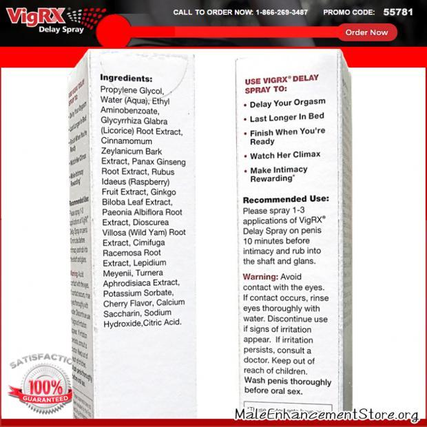 VigRX Delay Spray Ingredients